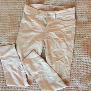 J brand waxed denim khaki nude skinny pants